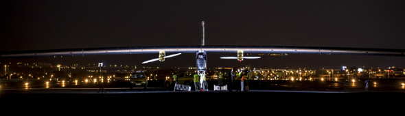 Solar Impulse at night