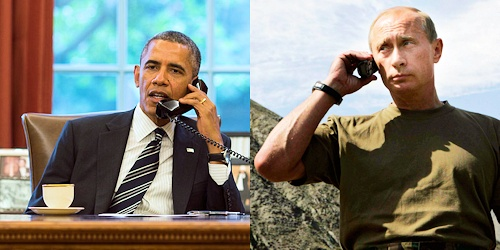 Obama-and-Putin-on=Phones