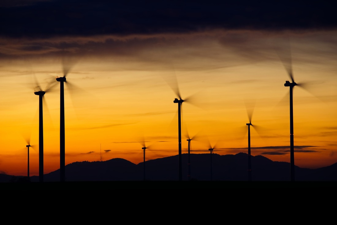 Image of wind farm at dusk