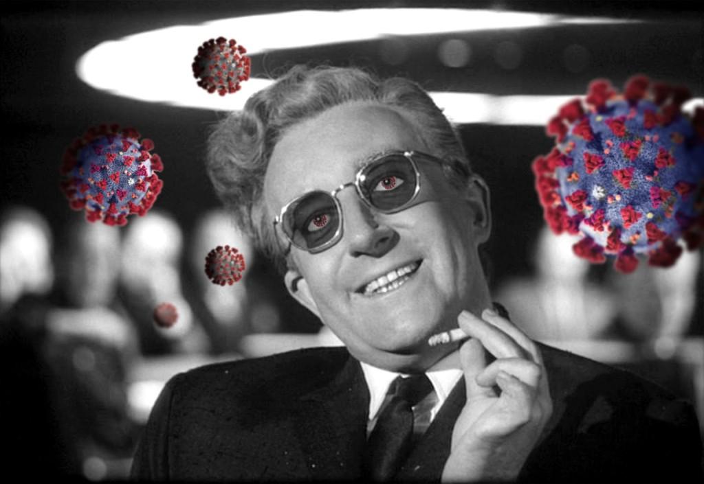 Still from Dr Strangelove movie with coronavirus renderings